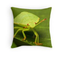 Green buddy on green leave  Throw Pillow