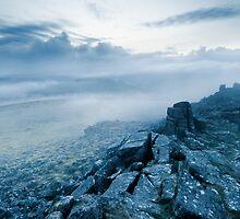Mist over Sharpitor, Dartmoor, Devon. by Justin Foulkes
