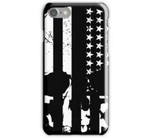 American Flag Skull (black and white) iPhone Case/Skin