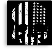 American Flag Skull (black and white) Canvas Print