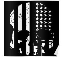 American Flag Skull (black and white) Poster