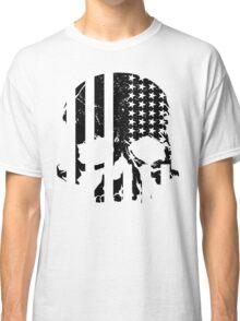 American Flag Skull (black and white) Classic T-Shirt