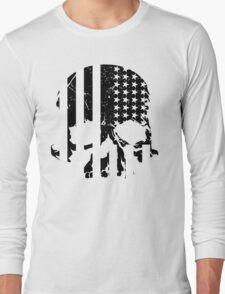 American Flag Skull (black and white) Long Sleeve T-Shirt