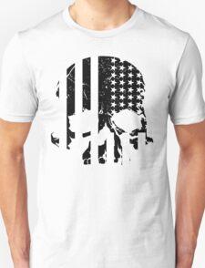 American Flag Skull (black and white) T-Shirt