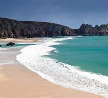 Porthcurno panorama, Cornwall. by Justin Foulkes