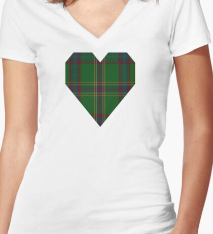 00344 Westmeath District Tartan  Women's Fitted V-Neck T-Shirt