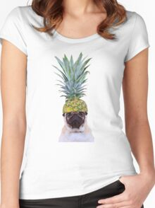 Pug Pineapple Women's Fitted Scoop T-Shirt