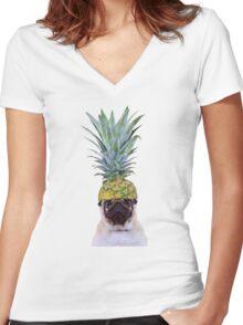 Pug Pineapple Women's Fitted V-Neck T-Shirt
