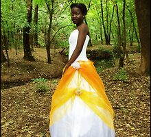 Gold Orange And White Gown by VampixInk