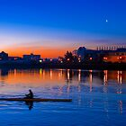 Rower at Sunrise in Salford Quays - England by Yen Baet