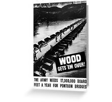 Wood Gets 'Em Over -- WWII Greeting Card
