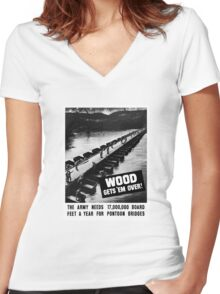 Wood Gets 'Em Over -- WWII Women's Fitted V-Neck T-Shirt