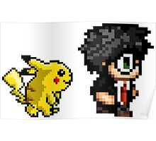 Retro Harry and Pikachu Poster