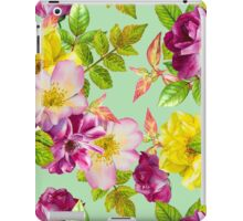 Purple and yellow roses floral pattern iPad Case/Skin