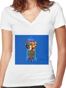 MEMORIES OF GUMBALL MACHINE >>PILLOWS,TOTE BAG,JOURNAL,MUGS,SCARF ECT.. Women's Fitted V-Neck T-Shirt