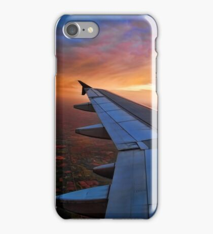 CAPTURED FROM INSIDE AIRPLANE WINDOW VIEW-WING OF AN AIRPLANE-JOURNAL-BOOKS-PILLOWS-TOTE BAG-CARD-CELLPHONE COVERS-PICTURE iPhone Case/Skin