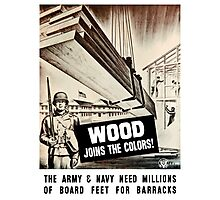 Wood Joins The Colors -- Army WWII Photographic Print