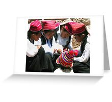 Plotting, Anapia Island, Lake Titicaca, Peru Greeting Card