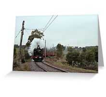 1970s K 190 under steam near Eltham with excursion train Greeting Card