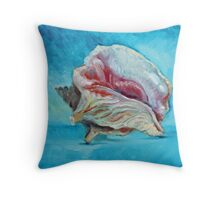 Conch shell study with blue Throw Pillow