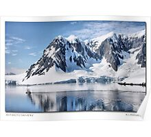 Antarctic Coastline and Boat Poster