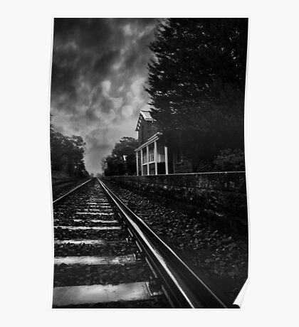 Waiting At The Station In Mono Poster