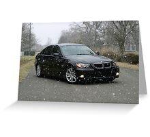 E90 Sport BMW Snowy Day Greeting Card