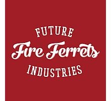 Future Industries' Fire Ferrets (White on Red) Photographic Print
