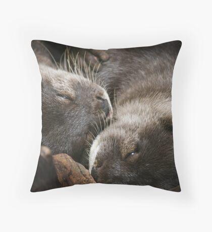 Sleeping Otters Throw Pillow