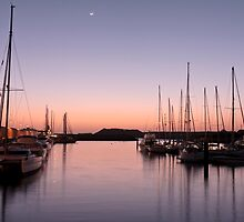 Masts at twilight by Phil  Crean