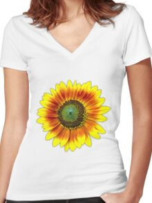 Sunflower Yellow Painted Flower Women's Fitted V-Neck T-Shirt
