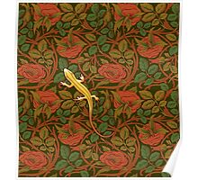 Yellow lizard on flowers Poster