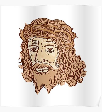 Jesus Christ Face Crown Thorns Etching Poster