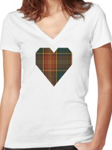 00352 Roscommon County District Tartan  Women's Fitted V-Neck T-Shirt