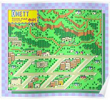 Onett Town Map - Earthbound/Mother 2 Poster