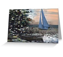 Yacht, boat and curonian lagoon scenery Greeting Card
