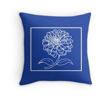 Deep Blue with White Flower Throw Pillow