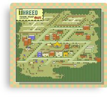 Threed Town Map - Earthbound/Mother 2 Canvas Print