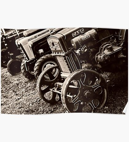 Antique Tractor Line Up Poster