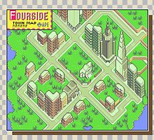 Fourside Town Map - Earthbound/Mother 2 by Studio Momo╰༼ ಠ益ಠ ༽