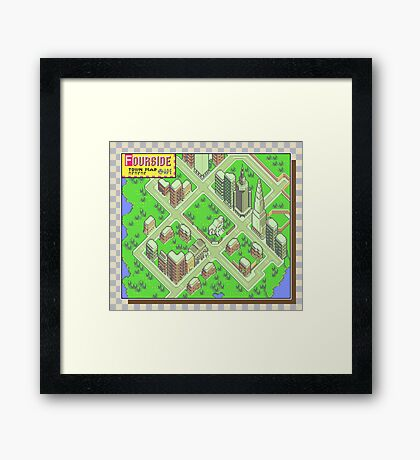 Fourside Town Map - Earthbound/Mother 2 Framed Print