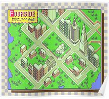 Fourside Town Map - Earthbound/Mother 2 Poster