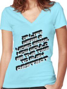 Life Restart Women's Fitted V-Neck T-Shirt