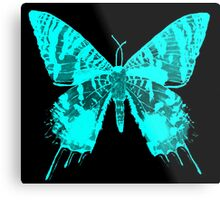 Neon Blue Moth Metal Print