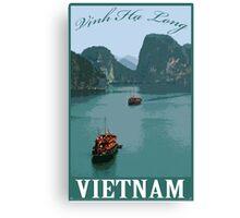 Vinh Ha Long (Ha Long bay) Vietnam Retro Travel Poster Canvas Print