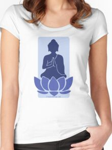 Meditating Buddha - blue Women's Fitted Scoop T-Shirt