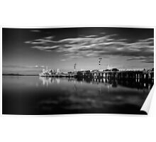 Sunset On The Pier In Mono Poster