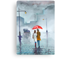 Rainy day red umbrella watercolour painting Canvas Print