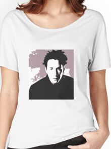 Keanu Reeves in the Matrix, Purple Color Women's Relaxed Fit T-Shirt