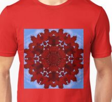Maple leaf mandala, red, burgundy and blue tones Unisex T-Shirt